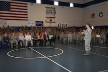 Col. Anthony Mastalir, 50th Space Wing vice commander, addresses Schriever personnel during the Wingman University commander's all call and pep rally at Schriever Air Force Base, Colorado, Thursday, May 12, 2016. Mastalir spoke about being a wingman, dealing with challenges and stressors, and the Green Dot program. (U.S. Air Force photo/2nd Lt. Darren Domingo)
