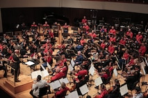 """On Sunday, May 1, in a special tribute marking the centennial of the First World War, the United States Marine Chamber Orchestra joined forces with the University of Maryland Symphony Orchestra in a concert titled """"Remembering World War I: The Mintage of Man."""" (USMC photo by Staff Sgt. Rachel Ghadiali/released)."""