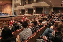 """On May 15, 2016, the Marine Band presented a concert titled """"Picture Studies"""" at the Rachel M. Schlesinger Concert Hall and Arts Center in Alexandria, Va. Following the concert, Marine Band musicians met with a high school band for a post-concert chat (U.S. Marine Corps photo by Staff Sgt. Rachel Ghadiali/released)"""