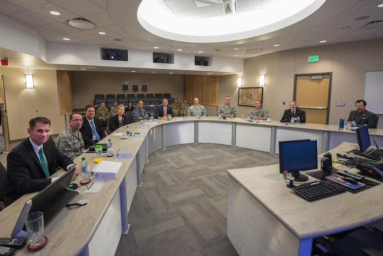 Defense Secretary Ashton Carter visits the Joint Interagency Combined Space Operations Center at Schriever Air Force Base, Colorado, Thursday, May, 12, 2016. Gen. John Hyten, commander of Air Force Space Command, and Adm. Cecil Haney, U.S. Strategic Command commander, also visited the installation. The center provides the Department of Defense and the intelligence community with a robust test and experimentation environment to better integrate our space operations in response to threats and afford unity of effort between diverse space communities. (U.S. Air Force photo/Christopher DeWitt)