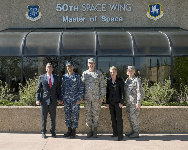 Defense Secretary Ashton Carter visits Schriever Air Force Base, Colorado, Thursday, May, 12, 2016. Gen. John Hyten, commander of Air Force Space Command, and Adm. Cecil Haney, U.S. Strategic Command commander, as well as Betty Sapp, National Reconnaissance Office director, also visited the installation to view the Joint Interagency Combined Space Operations Center. Col. DeAnna Burt, 50th Space Wing commander, hosted the leadership. (U.S. Air Force photo/Christopher DeWitt)