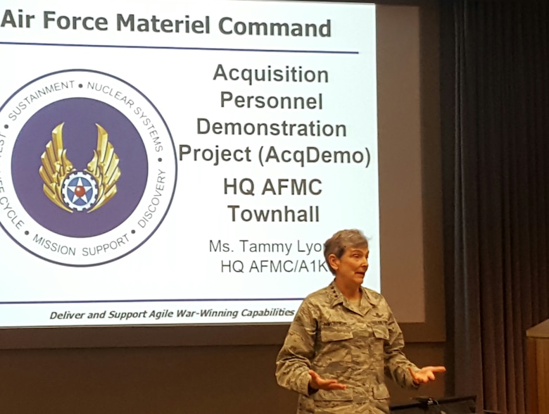 Gen. Ellen Pawlikowski, AFMC commander, speaks at an AcqDemo town hall meeting at AFMC headquarters on May 12, 2016. Town hall meetings and informational sessions are being held at AFMC centers and complexes for some 13,000 AFMC employees who will transition to the AcqDemo pay system on June 12, 2016. (U.S. Air Force photo/Stacey Geiger)