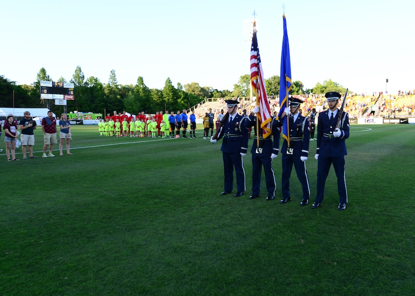 The Joint Base Charleston Honor Guard participated in military appreciation night during the Charleston Battery Soccer game May 14, 2016, Charleston, S.C. The Charleston Battery  cruised past Toronto FCII in a 2-0 victory. (U.S. Navy Photo by Mass Communication Specialist 1st Class Sean M. Stafford/Released)