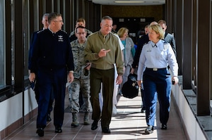 Gen. John Hyten, Air Force Space Command commander, Maj. Gen. Robert Rego, Mobilization Assistant to the Commander, U.S. Strategic Command, Gen. Joseph Dunford, Chairman of the Joint Chiefs of Staff, and Col. DeAnna Burt, 50th Space Wing commander, speak during a visit to the Joint Interagency Combined Space Operations Center at Schriever Air Force Base, Colorado, Friday, May 13, 2016. The center provides the Department of Defense and the intelligence community with a robust test and experimentation environment to better integrate space operations in response to threats and afford unity of effort between diverse space communities. (U.S. Air Force photo/Christopher DeWitt)