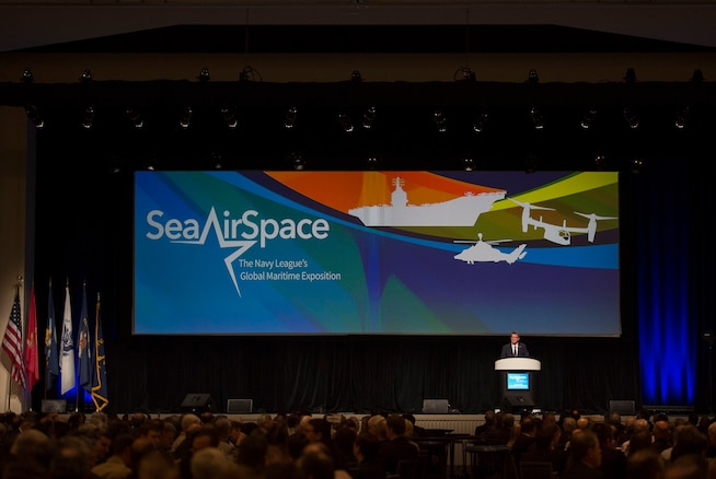 Defense Secretary Ash Carter delivers remarks during the Navy League's Sea-Air-Space Exposition at National Harbor, Md., May 17, 2016. DoD photo by Air Force Senior Master Sgt. Adrian Cadiz