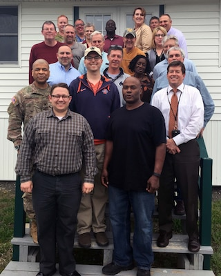 The Defense Logistics Agency Distribution headquarters team assembled a group to test out the Continuity of Operations program at Fort Indiantown Gap, Pa.