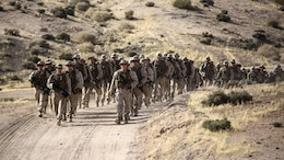 Marines with 1st Battalion, 2nd Marine Regiment, 2nd Marine Division arrive at a training area to conduct squad-level exercises in Al Quweyrah, Jordan, May 14. Eager Lion is a recurring exercise between partner nations designed to strengthen military-to-military relationships, increase interoperability, and enhance regional security and stability.