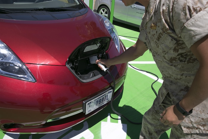 In accordance with Executive Order 13693, Planning for Federal Sustainability in the Next Decade, the Public Works Division installed new charging stations for government electric vehicles aboard the Combat Center. The charging stations were tested May 3, 2016 as part of the Combat Center's initiative to further the installation's conservation and sustainability efforts. (Official Marine Corps photo by Lance Cpl. Dave Flores)