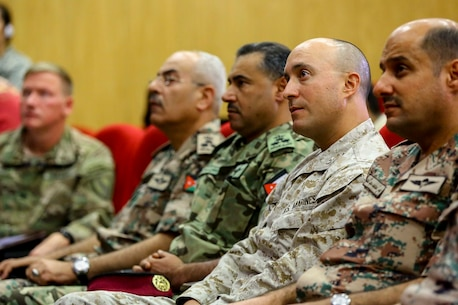 Members of the Jordanian Armed Forces and the United States Military attend a press conference during Exercise Eager Lion 16 at Jordanian Special Operations Command military headquarters in Amman, Kingdom of Jordan, May 15. Eager Lion 16 is a bi-lateral exercise in the Hashemite Kingdom of Jordan between the Jordanian Armed Forces and the U.S. Military designed to strengthen relationships and interoperability between partner nations while conducting contingency operations. (U.S. Marine Corps photo by Cpl. Lauren Falk 5th MEB COMCAM/Released)