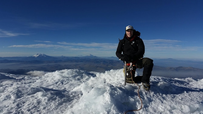 "Lt. Col. David Loveless, the 71st Medical Operations Squadron commander at Vance Air Force Base, Oklahoma, during his recent climb of Cayambe, an extinct volcano that is the third highest mountain in Ecuador. In his commentary, Loveless writes about a presence -- a ""third man"" – that climbers in trouble often report kept them going when they were ready to give up. He suggests you can be that third man when your Wingman is in crisis. (Courtesy photo)"