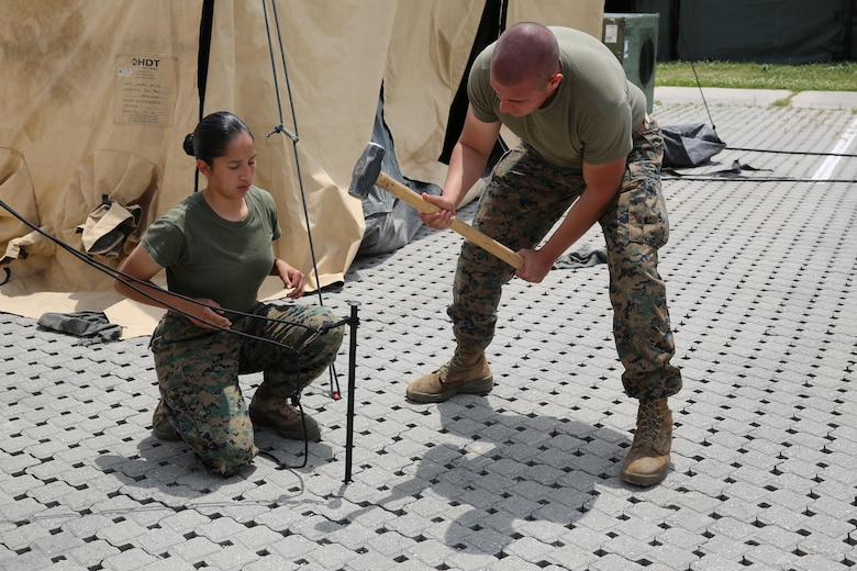 Lance Cpl. Florencia Murrillotorres and Lance Cpl. Johnny E. Rodriguez pound stakes into the ground while pitching tents to house more than 300 Marines during Marine Expeditionary Force Exercise 2016, at Marine Corps Air Station Cherry Point, N.C., May 11, 2016. MEFEX 16 is designed to synchronize and bring to bear the full spectrum of II MEF's command and control capabilities in support of a Marine Air-Ground Task Force.  (U.S. Marine Corps photo by Lance Cpl. Mackenzie Gibson/Released)