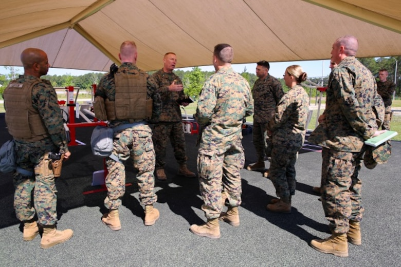 Marines participating in the II Marine Expeditionary Force Exercise 2016 attend religious services at Marine Corps Air Station Cherry Point, N.C., May 15, 2016. In addition to providing training for the operational planners, support Marines across the Wing were also able to exercise their specific military occupational specialties. MEFEX 16 is designed to synchronize and bring to bear the full spectrum of II MEF's command and control capabilities in support of a Marine Air-Ground Task Force. (U.S. Marine Corps photo by Staff Sgt. Rebekka S. Heite/Released)