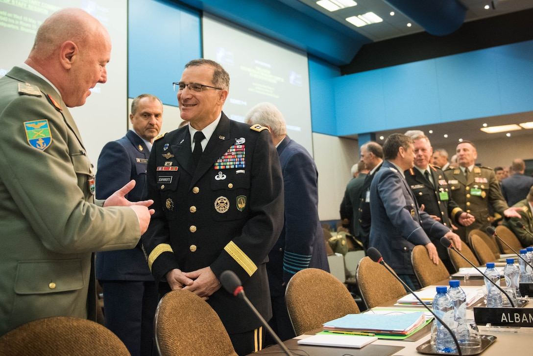 Army Gen. Curtis M. Scaparrotti, commander of U.S. European Command and Supreme Allied Commander Europe attends the NATO Military Committee/Chiefs of Defense Session in Brussels, May 18, 2016. DoD photo by D. Myles Cullen
