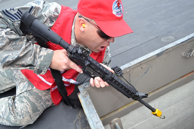 Master Sgt. Geoffrey Gay, a 201st RED HORSE, Det.1 member, plays the role of the active shooter during a major accident response exercise held at Horsham Air Guard Station, Pa., April 13, 2016. Gay has been asked to partake in this role for three prior MAREs that included an active-shooter element. (U.S. Air National Guard photo by Tech. Sgt. Andria Allmond)