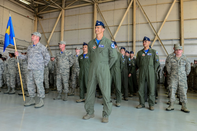U.S. Air Force Lt. Col. Brian Tenbrunsel, the commander of the 157th Fighter Squadron, assumes his place in front of his squadron during a change of command ceremony at McEntire Joint National Guard Base, S.C., May 14, 2016. Lt. Col. Akshai Gandhi assumes the position as vice commander of the 169th Fighter Wing and relinquishes command of the 157th Fighter Squadron to Lt. Col. Brian Tenbrunsel. (U.S. Air National Guard photo by Airman 1st Class Megan Floyd)