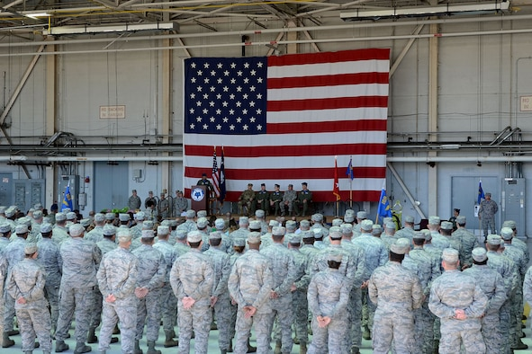 U.S. Airmen of the 169th Fighter Wing and the South Carolina Air National Guard assemble for a change of command ceremony at McEntire Joint National Guard Base, S.C., May 14, 2016. Col. David Meyer relinquishes command of the 169th Fighter Wing to Col. Nicholas Gentile. (U.S. Air National Guard photo by Senior Airman Ashleigh S. Pavelek)