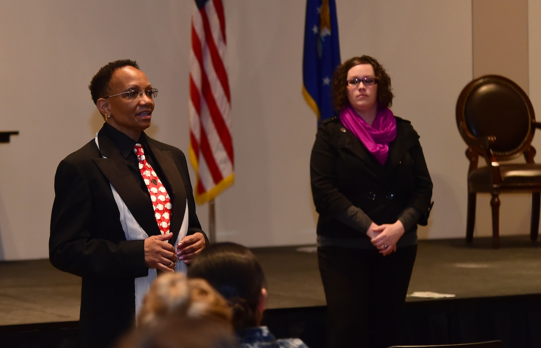 Peggie Moore-McCoy, 460th Space Wing Sexual Assault Response coordinator, addresses a crowd May 17, 2016, at the Leadership Development Center on Buckley Air Force Base, Colo. Moore-McCoy, together with Lindsy Gundrun, Senior Safe Helpline liaison, spoke on the Department of Defense Safe Helpline, a new crisis support service for members of the DoD community affected by sexual assault. (U.S. Air Force photo by Airman 1st Class Luke W. Nowakowski/Released)