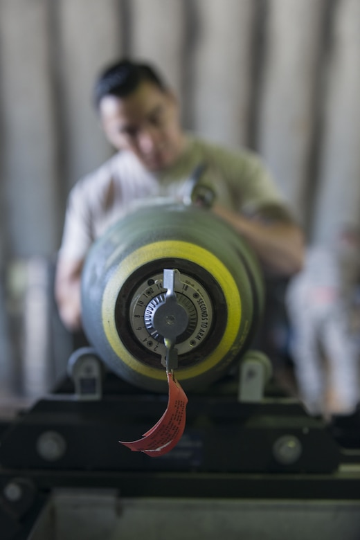 A Mark 82 bomb gets labeled during RED FLAG-Alaska 16-1, May 10, 2016, on Eielson Air Force Base, Alaska. Once the munitions are fully assembled and ready for use, a timer can be set to make sure it explodes at a safe distance from the aircraft once dropped. (U.S. Air Force photo by Staff Sgt. Ashley Nicole Taylor/Released)
