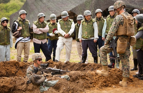 Japanese citizens learn about small arms training during an artillery demonstration for Artillery Relocation Training Program 16-1, in Senjogahara, Japan, May 16, 2016. ARTP is a Japan-funded, routine training exercise that allows Marines with 3rd Battalion, 12th Marine Regiment, 3rd Marine Division, III Marine Expeditionary Force, based out of Camp Hansen, Okinawa, Japan, to conduct live-fire training. Japanese locals and media are escorted around the training area during the event to witness the measures the Marine Corps takes to conduct ARTP safely.