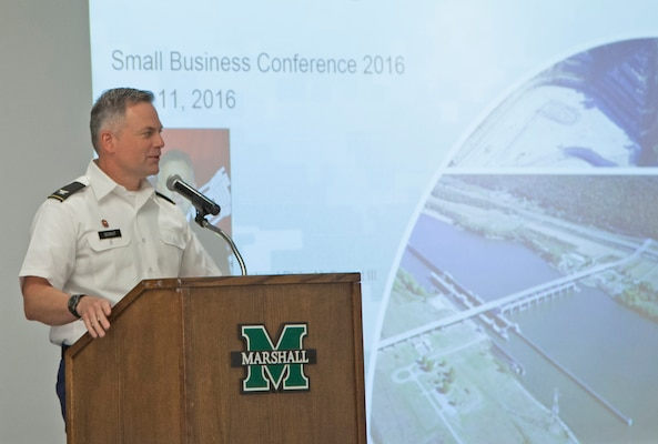 Huntington District Commander Col. Philip Secrist and twenty of his staff members and subject-matter-experts participated in the annual Small Business Conference that wrapped up May 11, 2016, at Marshall University's Memorial Student Center in Huntington, W.Va.