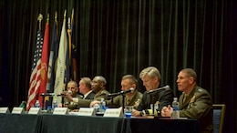 Military leaders discuss future warfighting concepts during the Naval Integration for the 21st Century panel at National Harbor, Maryland, May 16, 2016, as part of the Navy League of the United States Sea, Air, Space Exposition. Seated (left-right) are Lt. Gen. Michael Dana, deputy commandant for Installation and Logistics; Rear Adm. Thomas Shannon commander, Military Sealift Command; Lt. Gen. Ronald Bailey, deputy commandant for Plans, Polices and Operations; Lt. Gen. Jon Davis, deputy commandant for Aviation; Vice Adm. Robert Thomas, director, Navy Staff, and the moderator for the event, Lt. Gen. Robert Walsh, commanding general, Marine Corps Combat Development Command, deputy commandant for Combat Development and Integration.