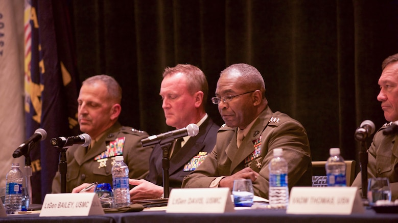 Lt. Gen. Ronald Bailey, deputy commandant for Plans, Polices and Operations, discusses national defense issues during the Naval Integration panel hosted in the Gaylord National Convention Center at National Harbor, Maryland, May 16, 2016, as part of the Navy League of the United States Sea, Air, Space Exposition. The panel also discussed what new products the military is looking for from different attending industries.