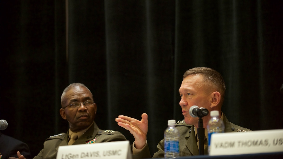 Lt. Gen. Jon Davis, deputy commandant for Aviation, discusses the future of Marine Corps aviation during the Naval Integration panel hosted in the Gaylord National Convention Center at National Harbor, Maryland, May 16, 2016, as part of the Navy League of the United States Sea, Air, Space Exposition.