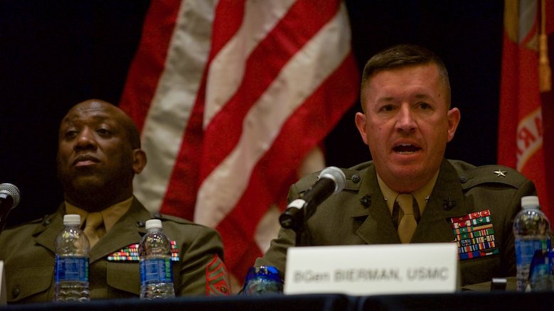 Brig. Gen. James W. Bierman, Commanding General, Marine Corps Recruit Depot San Diego/Western Recruiting Region, answers a question on gender integration from the audience during the Recruit, Train, Retain: Manpower of the 21st Century panel hosted in the Gaylord National Convention Center at National Harbor, Maryland, May 17, 2016.