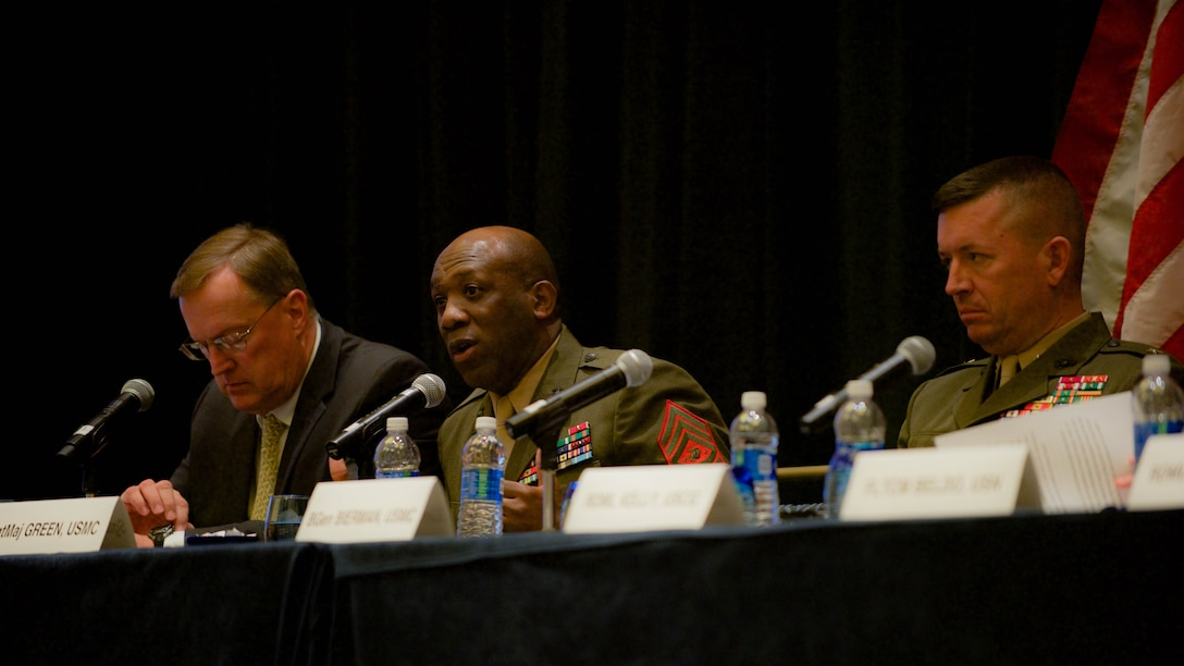 Sgt. Maj. Ronald L. Green, sergeant major of the Marine Corps, answers a question from the audience during the Recruit, Train, Retain: Manpower of the 21st Century panel hosted in the Gaylord National Convention Center at National Harbor, Maryland, May 17, 2016. Some of the questions asked during the event were how gender integration was going to be implemented and how to convince older members about new concepts.