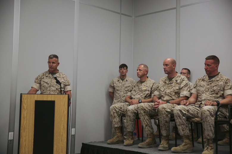 Maj. Gen. Lewis A. Craparotta, Combat Center Commanding General, delivers a speech during the graduation ceremony for Tactical Marine Air Ground Task Force Integration Course 1-16 aboard the Combat Center May 6, 2016. (Official Marine Corps photo by Lance Cpl. Levi Schultz/Released)