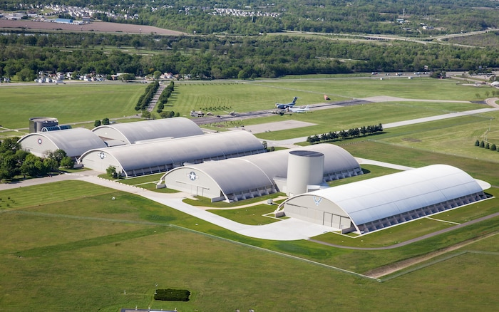 DAYTON, Ohio (05/2016) -- Aerial view of the National Museum of the U.S. Air Force. The museum collects, researches, conserves, interprets and presents the Air Force's history, heritage and traditions, as well as today's mission to fly, fight and win ... in Air, Space and Cyberspace to a global audience through engaging exhibits, educational outreach, special programs, and the stewardship of the national historic collection. (U.S. Air Force photo by Ken LaRock)