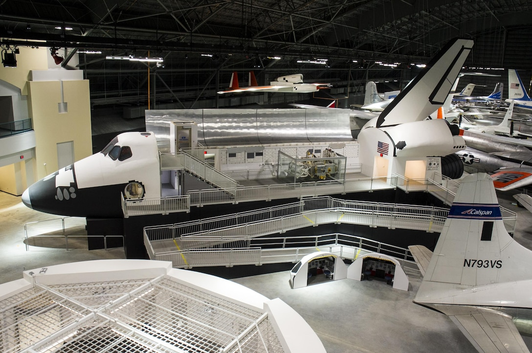 DAYTON, Ohio (05/2016) -- An overhead view of the Space Shuttle Exhibit at the National Museum of the United States Air Force. The fourth building includes more than 70 aircraft in four new galleries -- Presidential, Research & Development, Space and Global Reach. (U.S. Air Force photo by Ken LaRock)