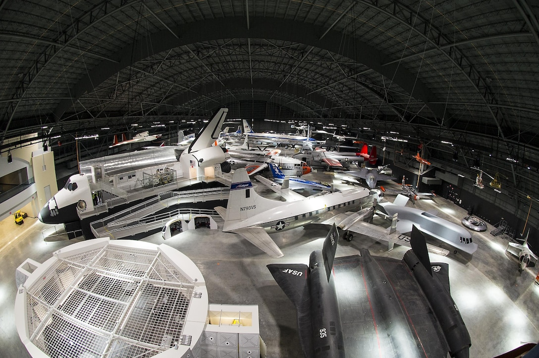 DAYTON, Ohio (05/2016) -- An overhead interior view of the fourth building at the National Museum of the United States Air Force. The fourth building includes more than 70 aircraft in four new galleries -- Presidential, Research & Development, Space and Global Reach.   (U.S. Air Force photo by Ken LaRock)