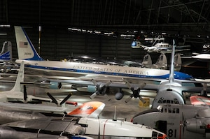 DAYTON, Ohio (05/2016) -- An overhead view of the Presidential and Global Reach Galleries at the National Museum of the United States Air Force. The fourth building includes more than 70 aircraft in four new galleries -- Presidential, Research & Development, Space and Global Reach.   (U.S. Air Force photo by Ken LaRock)