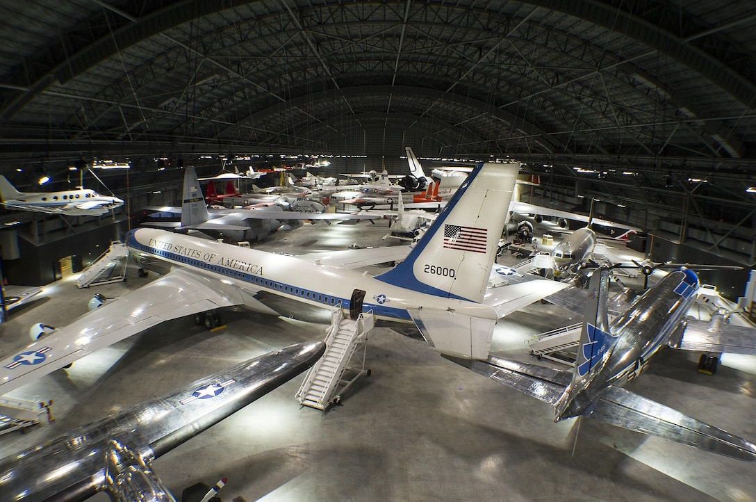 DAYTON, Ohio (05/2016) -- An overhead gallery view of the fourth building aircraft at the National Museum of the United States Air Force. The fourth building includes more than 70 aircraft in four new galleries -- Presidential, Research & Development, Space and Global Reach. (U.S. Air Force photo by Ken LaRock)