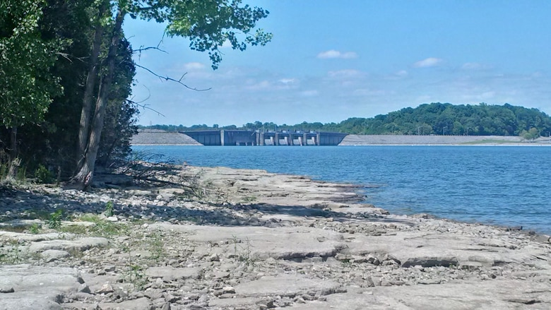 This is the shoreline at J. Percy Priest Lake and Dam.  The lake level is approximately three feet below the top of summer pool.  Without significant rainfall the lake may not reach its typical summer elevation of 490 feet above mean sea level.  The public is cautioned to be cautious when recreating at J. Percy Priest Lake.  Lower water levels make navigation more hazardous in more shallow areas where rocks or snags could be closer to the surface.