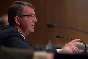 Defense Secretary Ash Carter discusses the importance of the Overseas Contingency Operations fund that supports the warfighter in April 27, 2016, testimony at a hearing of the Senate Appropriations Committee's defense subcommittee on the Defense Department's fiscal year 2017 budget request. The House of Representatives passed a bill May 18, 2016, with $18 billion in cuts to the fund. Carter is willing to work with Congress to restore the funds, and would recommend that the president veto the bill if necessary, Pentagon Press Secretary Peter Cook said. DoD photo by Air Force Senior Master Sgt. Adrian Cadiz