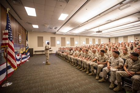 The 18th Sergeant Major of the Marine Corps, Ronald L. Green, visits Marines assigned to Marine Corps Security Force Regiment aboard Naval Weapons Station Yorktown, VA., May 16, 2016. (U.S. Marine Corps photo by Sgt. Melissa Marnell, Office of the Sergeant Major of the Marine Corps/Released)