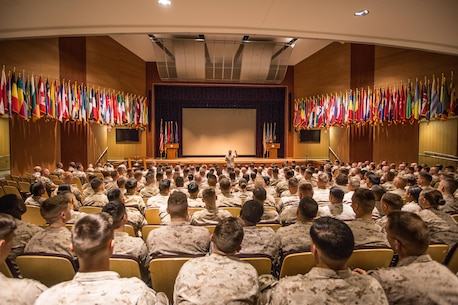 The 18th Sergeant Major of the Marine Corps, Ronald L. Green, visits Marines assigned to Marine Forces Command, Norfolk, VA., May 16, 2016. (U.S. Marine Corps photo by Sgt. Melissa Marnell, Office of the Sergeant Major of the Marine Corps/Released)