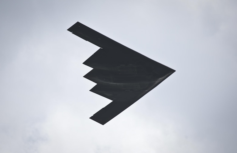A B-2 Spirit flies over the Power in the Pines Open House and Air Show on Joint Base McGuire-Dix-Lakehurst, N.J., May 14, 2016. (U.S. Air National Guard photo/Tech. Sgt. Matt Hecht)