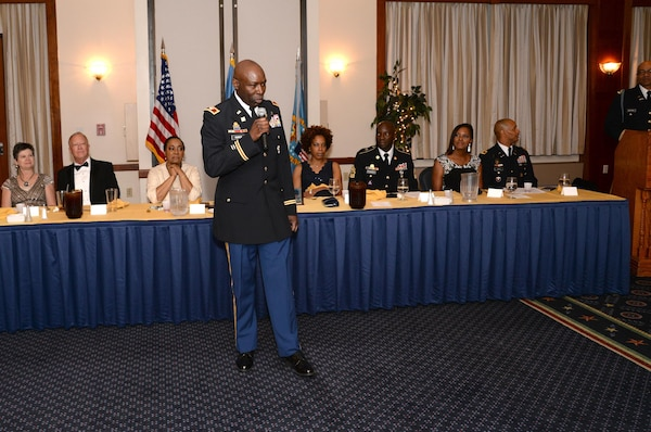 Army Col. Ralph Roper, outgoing DLA Joint Reserve Force Army Reserve Element commander, speaks to attendees at a May 14, 2016, Dining Out at Joint Base Andrews, Maryland.