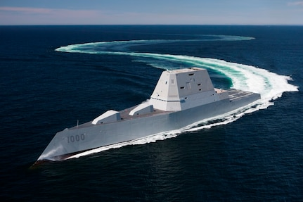 160421-N-YE579-005 (May 20, 2016) BATH, Maine - The U.S. Navy accepted delivery of DDG 1000, the future USS Zumwalt destroyer May 20. Following a crew certification period and October commissioning ceremony in Baltimore, Zumwalt will transit to her homeport in San Diego for a Post Delivery Availability and Mission Systems Activation. DDG 1000, pictured during acceptance trials in April, is the lead ship of the Zumwalt-class destroyers; next-generation multi-mission surface combatants tailored for land attack and littoral dominance. (U.S. Navy Released)