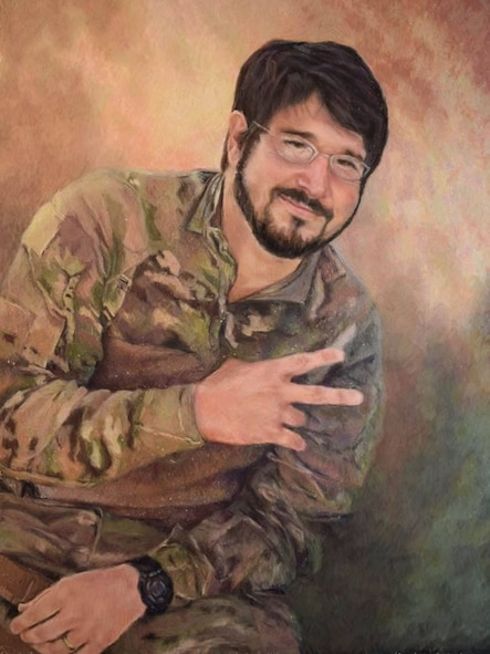 A painted portrait of Staff Sgt. Michael A. Cinco, Air Force Office of Special Investigations, 11th Field Investigations Squadron, Joint Base San Antonio-Randolph, Texas. Cinco and five other Airmen were killed by a suicide bomber near Bagram Airfield, Afghanistan, Dec. 21, 2015. (Courtesy photo)
