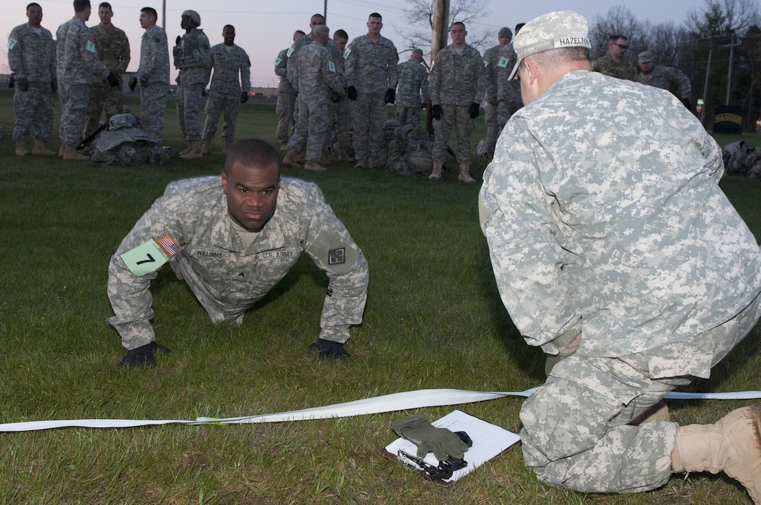 A Soldier from team 7 participates in the Army Physical Fitness Test during the annual Sapper Stakes competition at Fort Drum, New York, May 14.