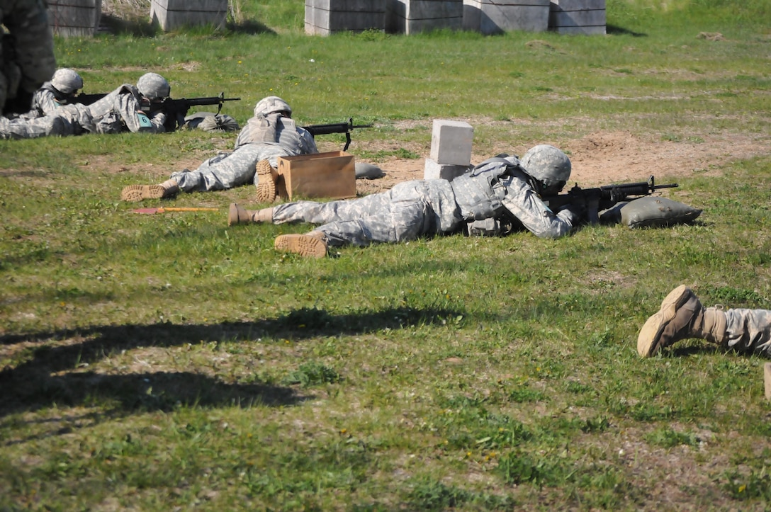 Soldiers qualify on the weapons during the Sapper Stakes competition set to determine the best sapper team at Fort Drum, New York, May 14.