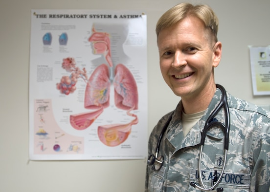 Lt. Col. Christopher Coop is an allergist at the Wilford Hall Ambulatory Surgical Center's Allergy Clinic, Joint Base San Antonio-Lackland, Texas. He is with the 59th Medical Specialty Squadron. (U.S. Air Force photo/Staff Sgt. Kevin Iinuma)