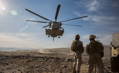 U.S Marines with 2nd Transportation Support Battalion (TSB), prepare to anchor ropes to a Humvee durring the Integrated training exercise (ITX) on Twentynine Palms, Ca., May. 13, 2016. 2nd TSB and subordinate units participated in ITX 3-16 to ensure all elements of Special-Purpose Marine Air Ground Task Force 2 are prepared for upcoming deployments and operational commitments.