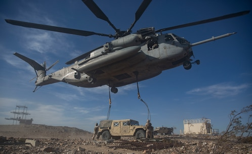 U.S Marines with 2nd Transportation Support Battalion (TSB),  anchor ropes to a Humvee durring the Integrated training exercise (ITX) onTwentynine Palms, Ca., May. 13, 2016. 2nd TSB and subordinate units participated in ITX 3-16 to ensure all elements of Special-Purpose Marine Air Ground Task Force 2 are prepared for upcoming deployments and operational commitments.