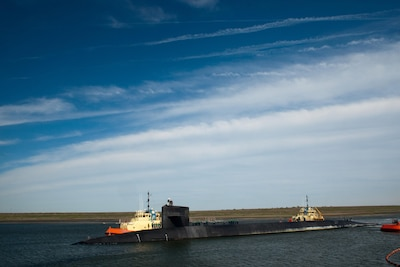 The Ohio-class ballistic missile submarine USS Alaska preparing to moor at Naval Submarine Base Kings Bay, Ga.