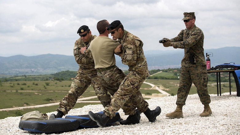1st Lt. Jonathan Stinson, (far right) platoon commander with Company Delta, 4th Law Enforcement Battalion, Force Headquarters Group, Marine Forces Reserve, demonstrates the use of a Taser during Distinguished Visitors Day of exercise Platinum Wolf 2016 at Peacekeeping Operations Training Center South Base, Bujanovac, Serbia, May 20, 2016. The nations of Bosnia, Bulgaria, Macedonia, Montenegro, Slovenia, Serbia and the United States join together during the final field exercises to demonstrate their abilities to conduct peacekeeping operations and the ability to work together.